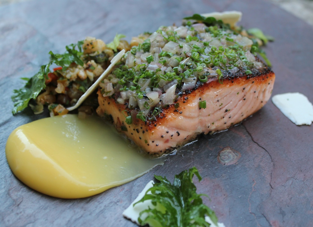 Everything Spice Crusted Salmon Caponata Ricotta Salata And Lemon Curd Chef John Brand